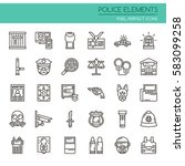 police elements    thin line... | Shutterstock .eps vector #583099258