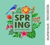 spring background  floral  art  ...   Shutterstock .eps vector #583106536