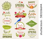 set of spring labels  signs and ... | Shutterstock .eps vector #583106644