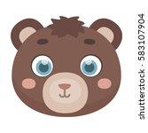 Bear Muzzle Icon In Cartoon...
