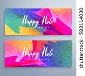 happy holi festival banners set