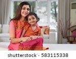 portrait of lovely family in... | Shutterstock . vector #583115338