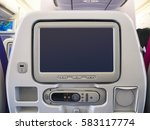 airplane seats blank screen... | Shutterstock . vector #583117774