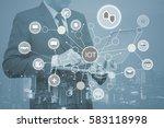 double exposure of business man ... | Shutterstock . vector #583118998
