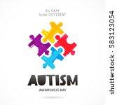 autism awareness day. it's okay ... | Shutterstock .eps vector #583123054