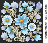 abstract blue spring floral... | Shutterstock .eps vector #583126588