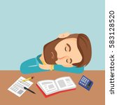 fatigued caucasian student... | Shutterstock .eps vector #583128520