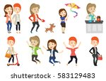group of young cheerful friends ... | Shutterstock .eps vector #583129483