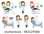 woman sitting in dental chair... | Shutterstock .eps vector #583129588