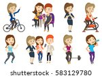 woman riding stationary bicycle ... | Shutterstock .eps vector #583129780