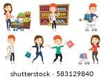 woman pushing a shopping... | Shutterstock .eps vector #583129840