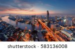 u curve of chao phraya river ... | Shutterstock . vector #583136008