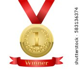 realistic vector gold medal on... | Shutterstock .eps vector #583136374