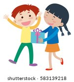 girl gives present to boy... | Shutterstock .eps vector #583139218