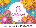 colorful paper cut flower. 8... | Shutterstock .eps vector #583140028