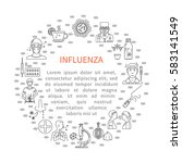 prevention of influenza round... | Shutterstock .eps vector #583141549