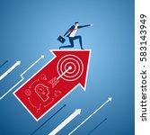 businessman on growth arrow... | Shutterstock .eps vector #583143949