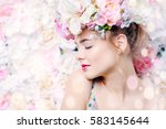 beautiful romantic young woman... | Shutterstock . vector #583145644