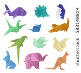 origami different paper animals ...   Shutterstock .eps vector #583148824