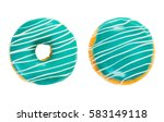 two donuts turquoise color with ... | Shutterstock . vector #583149118