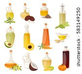 different food oil in bottles... | Shutterstock .eps vector #583149250