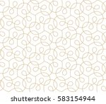 Stock vector abstract geometric pattern with crossing thin golden lines on white background seamless linear 583154944