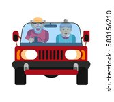 grandparents driving in car... | Shutterstock .eps vector #583156210