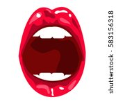 red open mouth with white teeth ... | Shutterstock .eps vector #583156318