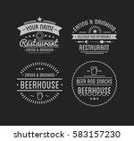 vintage logo.  restaurant label.... | Shutterstock .eps vector #583157230