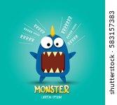 vector cartoon funny blue... | Shutterstock .eps vector #583157383