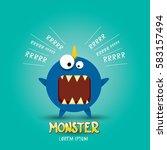 vector cartoon funny blue... | Shutterstock .eps vector #583157494