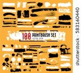 set of black paint  ink brush... | Shutterstock .eps vector #583160440