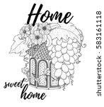 black and white wood nesting... | Shutterstock .eps vector #583161118