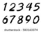grunge numbers set.vector... | Shutterstock .eps vector #583163374