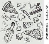 italian cuisine. italian food... | Shutterstock .eps vector #583163734