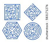 labyrinth set different shapes... | Shutterstock . vector #583171276