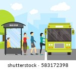 cartoon bus stop with transport ... | Shutterstock .eps vector #583172398