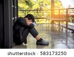 young businessman depression in ... | Shutterstock . vector #583173250
