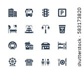 city elements vector icon set | Shutterstock .eps vector #583173820