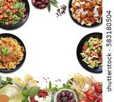 Small photo of Collage of Italian meals and ingredients. Italian food background, with copy space.