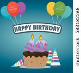 40th birthday cake and...   Shutterstock .eps vector #583182268