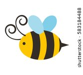 cute bee flying icon | Shutterstock .eps vector #583184488