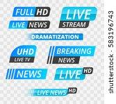 vector tv news banner interface ... | Shutterstock .eps vector #583196743