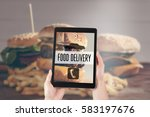 fast food delivery  ordering...   Shutterstock . vector #583197676