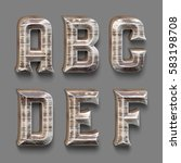 3d rendered font set with wood... | Shutterstock . vector #583198708