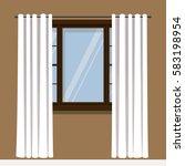 open white drapery curtain.flat ... | Shutterstock .eps vector #583198954