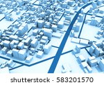 abstract white urban 3d...   Shutterstock . vector #583201570