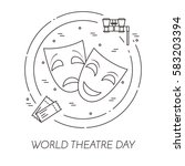 theatre banner. line art icons. ... | Shutterstock .eps vector #583203394