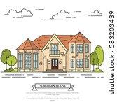 suburb skyline in line art... | Shutterstock .eps vector #583203439