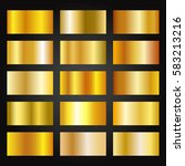 set of gold gradients on black... | Shutterstock .eps vector #583213216